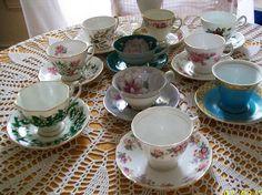 Vintage teacup lot  tea party  china teacups  lot of ten