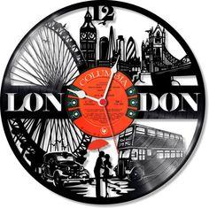 Horloge disque vinyle Londres en Angleterre par LongPlayArt sur Etsy