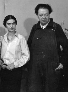 Diego Rivera and Frida Kahlo appear in an undated photograph.
