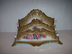 Victorian Style Hand Painted Gilded Porcelain Letter Holder