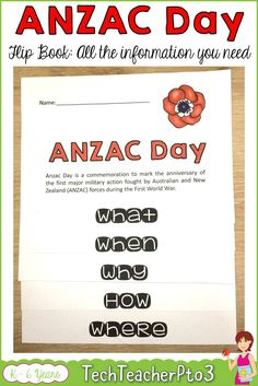 ANZAC Day can be complicated to discuss with primary students and often there just isn't much time in the busy curriculum to go through all the key elements about why we commemorate this special day. This flip book provides all the information you students need to know about ANZAC Day in an easy to assemble flip book activity. #ANZACDay #flipbook #socialstudies #teacherspayteachers
