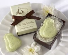 "Buy ""The Perfect Pair"" Scented Pear Soap at Favors with Flair. We offer ""The Perfect Pair"" Scented Pear Soap at the lowest price with Free Shippping. Wedding Favors And Gifts, Creative Wedding Favors, Wedding Shower Favors, Party Favors, Bridal Gifts, Wedding Tokens, Party Gifts, Soap Packing, Soap Favors"