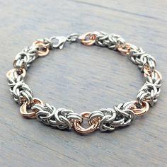Stainless Steel Bracelet - Copper Bracelet - Chain Mail Bracelet - Chainmail Bracelet - Byzantine Bracelet - Steel Bracelet - Copper Jewelry