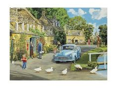 Trevor Mitchell print - also does series of English village prints Country Art, Country Life, Artist Canvas, Canvas Art, Vintage Illustration, Best Jigsaw, Nostalgic Art, Morris Minor, Old Classic Cars