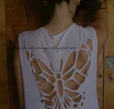 DIY Butterfly cut-out t-shirt!  here tutorial:  http://jaimelesfeuillesrouges.blogspot.it/2013/07/diy-butterfly-cut-out-t-shirt.html#more
