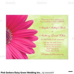 Pink Gerbera Daisy Green Wedding Invitation