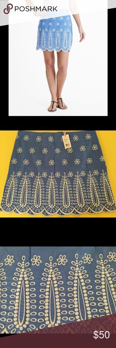 NWT Vineyard Vines embroidered Margo skirt Sz 12 Fabulous embroidered Vineyard Vines Margo skirt in Breaker blue.  Skirt is a size 12 and is NWT.  Received as a gift and just never got around to wearing it, so it's time to send it off to a new home that will love it!!! Vineyard Vines Skirts Mini