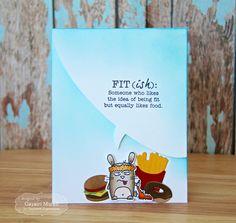 Card by Gayatri Murali  (011117)  [Taylored Expressions (dies) Exercise Grumplings, Let's Talk Edger 3, Little Bits Donut, Little Bits Hamburg, Little Bits French Fries; (stamps) Exercise Grumplings]