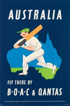 "vntgtravel: "" Australia Vintage Travel Poster - 'Fly There by B•O•A•C & QANTAS'. 1953 """
