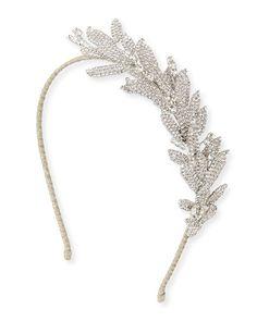 D110W Jennifer Behr Arielle Crystal Leaf Headband