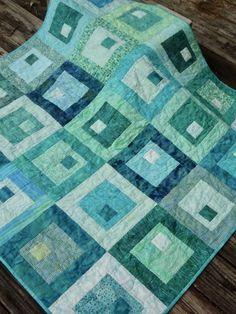 Sea Glass Quilt / Aqua Teal Lap Quilt / Quilt by Jackiesewingstudio on Etsy Batik Quilts, Blue Quilts, Small Quilts, Mini Quilts, Turquoise Quilt, Aqua Quilt, Quilting Projects, Quilting Designs, Scrap Quilt Patterns