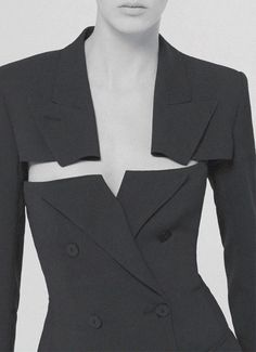 Jacket with sliced lapels; creative pattern cutting; sewing; tailored fashion design detail // Jean Paul Gaultier