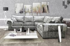 Milano Large Corner Sofa in Silver Crushed Velvet With Foam and Fibre Seats!!!