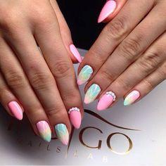 by Ania Leśniewska, Find more Inspiration at www.indigo-nails.com #Nails #Polish #pastel #swarovski