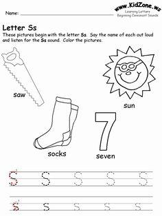 Letter S Worksheets, Consonant Blends Worksheets, English Worksheets For Kindergarten, Writing Practice Worksheets, Letter Activities, Preschool Worksheets, Preschool Printables, Have Fun Teaching, Teaching Kids