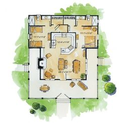 Rustic Sportsman Cabin (HWBDO76596)   Tidewater House Plan from BuilderHousePlans.com