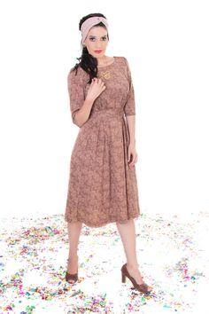 Brown Floral modest midi  dress with flower print by TAMARLANDAU, $110.00 #modest dress #modest fashion #midi dress