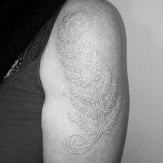 Delicate white ink by Cornelius J. Breadward.