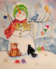 "#ORIGINAL Watercolor Painting Snowman Winter Christmas #TeddyBear Bluebird 8x10"""