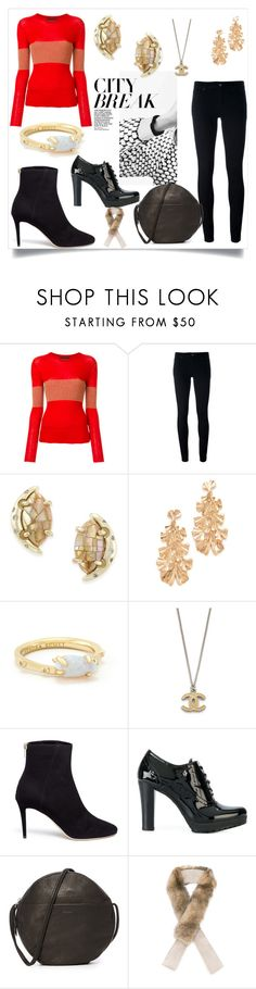 """""""Beautiful And Feminine"""" by kate-winslet-143 ❤ liked on Polyvore featuring Cashmere in Love, Levi's, Kendra Scott, Stella + Ruby, Jimmy Choo, Armani Jeans and BAGGU"""