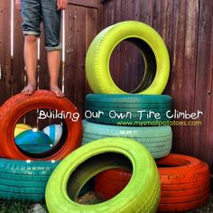 Building a Tire Climbers #recycedtyres #playground #aboutthegarden.com.au