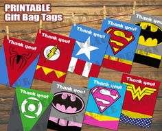 Printable Superhero Party Gift Bag Tags Batman Superman Spiderman Captain America Flash Green Lantern Supergirl Wonder Woman Batgirl
