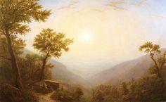 "Erik Koeppel, ""Sunrise Over the Hudson"" 44 x 72 inches Oil on Canvas   Hudson River School"