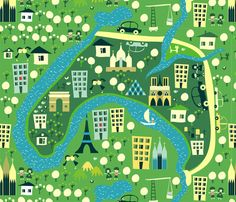 cartoon map prints fabric. Paris print.