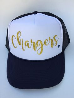 Chargers hat Script with heartSan Diego Chargers by MamaHenGoods Gorra  Personalizadas 72844c636bb