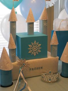 Castle decoration at a Frozen birthday party! See more party ideas at CatchMyParty.com!