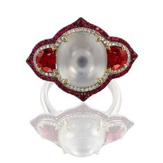 Red spinel, ruby, white moonstone & diamonds ~ Ivy New York… Ruby Gemstone, Gemstone Colors, Antique Jewelry, Vintage Jewelry, Red Spinel, Custom Jewelry Design, Fantasy Jewelry, Diamond Jewelry, White Moonstone