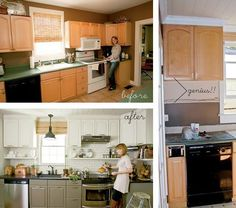 moving cabinets up to the ceiling ***i like the open shelving underneath. And I LOVE white cabinets ****