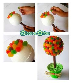 Como fazer centro de mesa árvore de jujubas - bola de isopor + jujubas | Macetes de Mãe