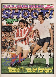 magazine for Feb 1974 featuring Tottenham v Stoke City on the cover. Football Cards, Football Players, Baseball Cards, Martin Peters, Stoke City Fc, Spurs Fans, Star K, Newspaper Headlines, Everton Fc