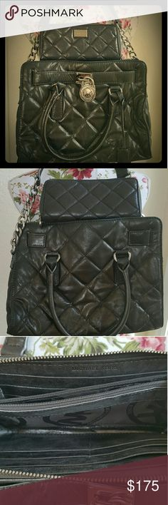 Michael Kors purse & wallet set Quilted leather Hamilton purse with matching wallet by Michael Kors. Got this from another posher in a trade.  I took it to the Dillards store to verify and they said it is authentic.  Wanting to sell or trade. Michael Kors Bags