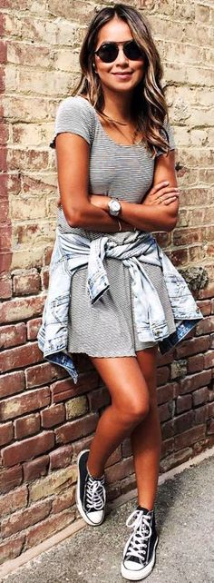 #sincerelyjules #spring #summer #besties | Striped Dress + Denim Jacket + Sneakers