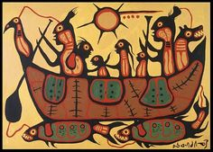 >>> Norval Morrisseau Facts, Articles & Art: Migration by Norval Morrisseau - The Royal Ontario Museum Collection Inuit Kunst, Inuit Art, Native American Artists, Canadian Artists, Kunst Der Aborigines, Indian Contemporary Art, Modern Art, Royal Ontario Museum, Woodland Art