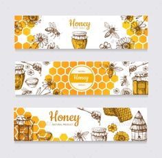 Buy Honey Banners by MicrovOne on GraphicRiver. Vintage hand drawn bee and honeyed flower, honeycomb and hive vector labels. Illustration of healthy f. Honey Jar Labels, Honey Label, Logo Patisserie, Logo Doce, Honey Logo, Honey Brand, Bee On Flower, Flower Food, Honey Packaging