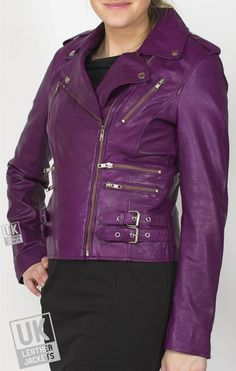 Women's Purple Leather Biker Jacket - Lyon - Vintage rock chick asymmetric zip designer style women's purple leather biker jacket, lots of individual and distinctive detailing throughout. Crafted from a super soft nappa which fully emphasizes the high quality design and finish. Premium Soft Nappa. Semi Fit Style. YKK zips throughout. Off centre zip that runs through to base of collar. Fold down lapel collar with press stud fastenings at each corner for added ...