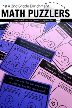 These Number Jar brain teasers require students to find which two or three numbers can be swapped so that both jars (or equations) are equal to one another.  When students begin to understand the premise, it is magic with so many light bulb moments.