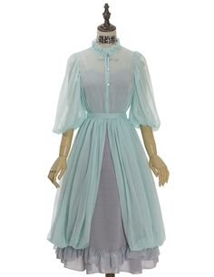 50s dress retro fashion vintage prop dress chiffon summer date going out wedding green grey