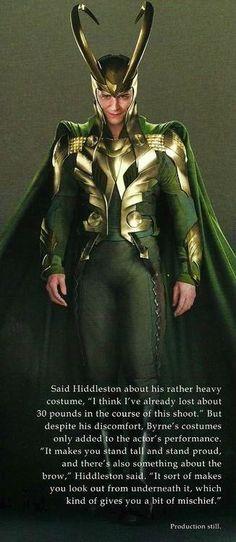 Tom Hiddleston on Loki's costume.