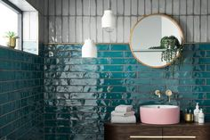 Looking for tile inspiration to redecorate bathrooms and kitchens? Topps Tiles h… Looking for tile inspiration to redecorate bathrooms and kitchens? Topps Tiles have just revealed the vibrant Lampus Peacock as 'Tile of the Year Bathroom Inspo, Bathroom Colors, Bathroom Inspiration, Interior Inspiration, Colorful Bathroom, Eclectic Bathroom, Bathroom Ideas, Bathroom Feature Wall Tile, Pink Bathroom Tiles