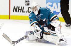 San Jose Sharks goaltender Alex Stalock deflects a shot away in the second period (Jan. 19, 2015).