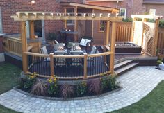 Pergola, hot tub, privacy wall, bar,lighting