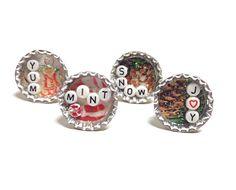 Bottlecap ring alphabet bead ring Christmas ring by PokeysWorld
