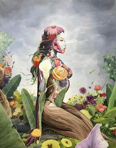 """Brian Kirhagis ""Earth 2018 Acrylic on Canvas Illustration Mignonne, Illustration Art, Mother Earth Tattoo, Stoner Art, Goddess Art, Foto Art, Visionary Art, Psychedelic Art, Art Plastique"