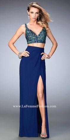Crystal Two Piece V Neck Prom Dress by La Femme #edressme