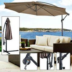 Hanging Garden Umbrella 10u0027 Patio Sun Shade Offset Parasol Waterproof  Shelter #Goplus #GardenUmbrella