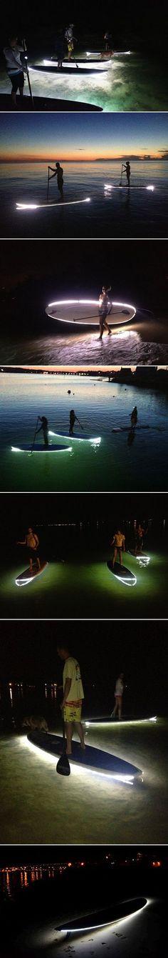 Paddleboarding at night! This looks like fun!